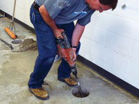 Coring the concrete of a concrete slab floor in Blackfoot