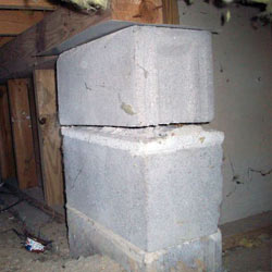 Collapsing crawl space support pillars Rigby
