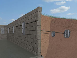 A graphic illustration of a foundation wall system installed in Emmett