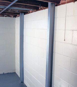 A PowerBrace™ i-beam foundation wall repair system in Boise