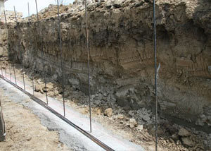 Soil layers exposed while excavating to construct a new foundation in Rexburg