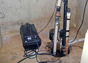 Pedestal sump pump system installed in a home in Mountain Home