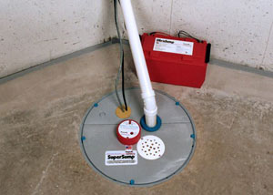 A sump pump system with a battery backup system installed in Emmett
