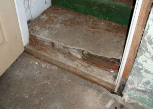 A flooded basement in Rupert where water entered through the hatchway door