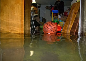 A flooded basement bedroom in Buhl