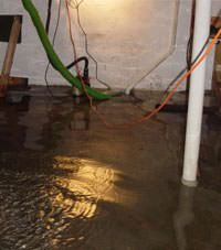 Several feet of floodwaters in a Weiser basement