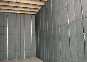SilverGlo™ insulation and metal studs making up our Basement to Beautiful panels.  Installed in Meridian.