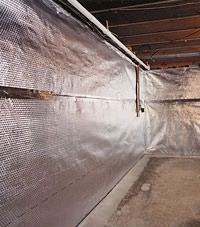 Radiant heat barrier and vapor barrier for finished basement walls in Post Falls, Idaho